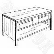 Open cupboard with drawers